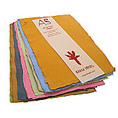 Handmade Recycled Paper Assorted Colours. A5 150gsm, 20 sheets.