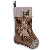 Fabric Finish Christmas Stockings With Fluffy Reindeers - Design A