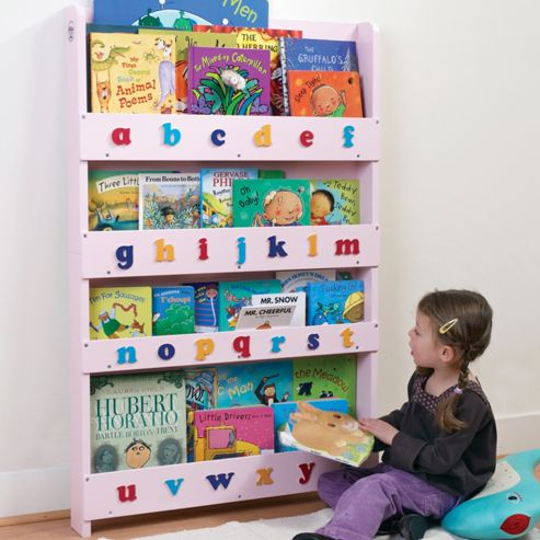 Tidy Books Bookcase in Pink, Lowercase Letters