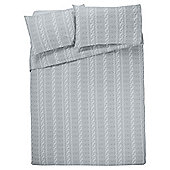 Tesco Cable Brushed Cotton Duvet Cover And Pillowcase Set, , - White