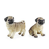 Pugsey & Sue the Pug Dog Pet Figurine Garden or Home Ornament Set