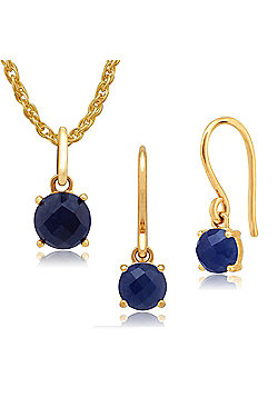 Amour Damier 9ct Yellow Gold Sapphire Drop Earrings & 45cm Necklace Set by Gemondo