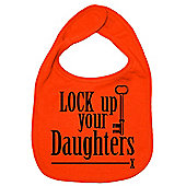 Dirty Fingers Lock up your Daughters Baby Bib Orange