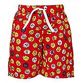 Lego Mini Figure Heads Boy's Swim Shorts - Red - Red