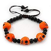 Orange Acrylic Skull Bead Children/Girls/ Petites Teen Friendship Bracelet On Black String - (13cm to 16cm) Adjustable