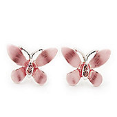 Small Pink Enamel 'Butterfly' Stud Earrings In Silver Plating - 2cm Length