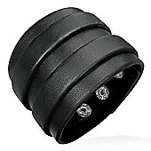 Urban Male Black Leather Double Strap 47mm Bracelet