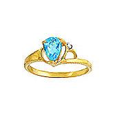QP Jewellers Diamond & Blue Topaz Glow Ring in 14K Gold