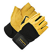 Bodymax Pro Suede Weight Lifting Gloves with Wrist Support - Large (L)
