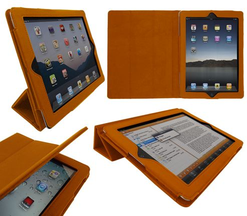 iTALKonline 19334 Pad Wear Executive Wallet Case With TRI-FOLD SMART TILT Orange - For Apple iPad 2