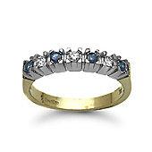 Jewelco London 9 Carat Yellow Gold Diamond-15pts & Sapphire Half Eternity Ring