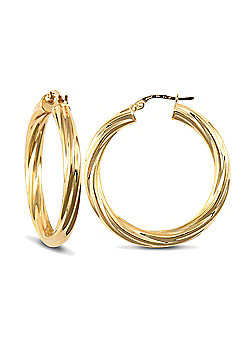 Jewelco London 9ct Yellow Gold 4mm round-tube Twisted hoop Earrings