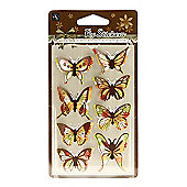 Floral Butterfly Stickers - Yellow/Brown