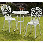 Suntime Perth 60cm White Cast Aluminium Bistro Set