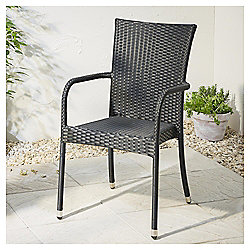 Mila Black Woven Rattan Stacking Chair