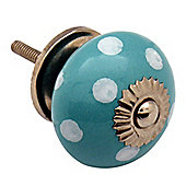 Ceramic Cupboard Drawer Knob - Polka Dot Design - Turquoise / White