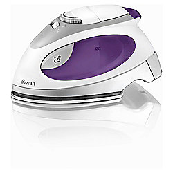 Swan Stainless Steel Plate Travel Iron - Purple & White