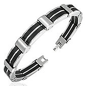 Urban Male Two Colour Stainless Steel & Rubber Link Bracelet For Men