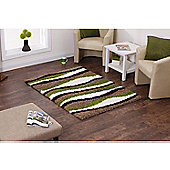 Oriental Carpets & Rugs Vista Beige/Green Shaggy Rug - 120 cm x 170 cm (3 ft 11 in x 5 ft 7 in)
