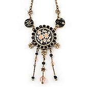 Vintage Inspired Black Crystal, Enamel Floral Medallion Pendant Necklace In Burn Gold Metal - 36cm Length/ 8cm Extension