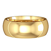 Jewelco London 9ct Yellow Gold - 7mm Essential Court-Shaped Band Commitment / Wedding Ring -