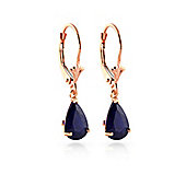 QP Jewellers 3.0ct Sapphire Belle Leverback Earrings in 14K Rose Gold