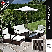 BillyOh Mocha Brown Sandringham 4 Seater Sofa Rattan Garden Funrniture Set
