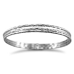Jewelco London Sterling Silver - 3 strand D/C Slave Bangle - Bangle - Ladies