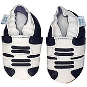 Dotty Fish Soft Leather Baby Shoe - White and Navy Trainer Design - White
