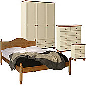 Nordic Cream and Pine Bedside, 2+4 Chest, 3 Door 4 Drawer Robe, Double Bed Package