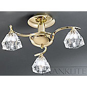 Franklite Twista Three Light Semi Flush Ceiling - Brass