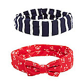 Mothercare Young Girls White floral and Navy Striped Headbands - 2 Pack