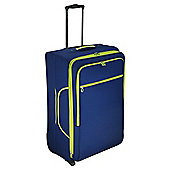 Tesco 2-Wheel Large Navy/Green Suitcase