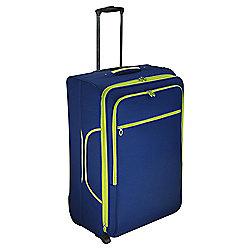 Tesco 2-Wheel Large Navy/Green Suitcase