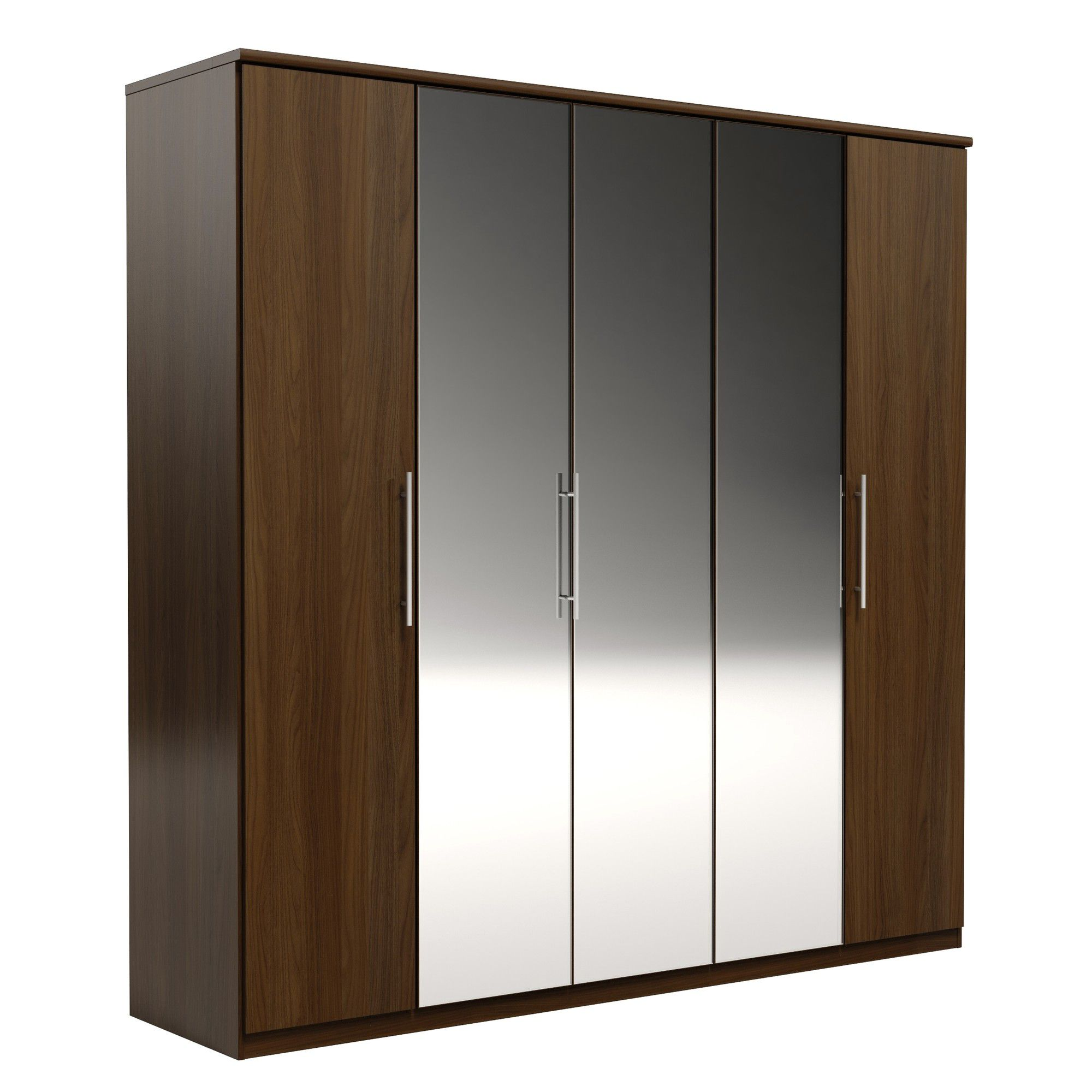 Urbane Designs Prague 5 Door Wardrobe - Walnut at Tesco Direct