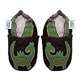 Dotty Fish Soft Leather Baby Shoe - Brown and Green Dinosaur