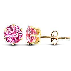 Jewelco London 9ct Yellow Gold studs claw-set with 5mm Solitaire pink CZ stone