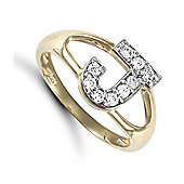 Jewelco London 9ct Gold Ladies' Identity ID Initial CZ Ring, Letter J - Size L