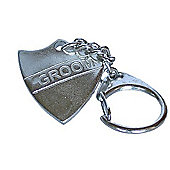 Pewter Wedding Groom Shield Keyring