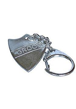Pewter Wedding Groom Shield Keyring