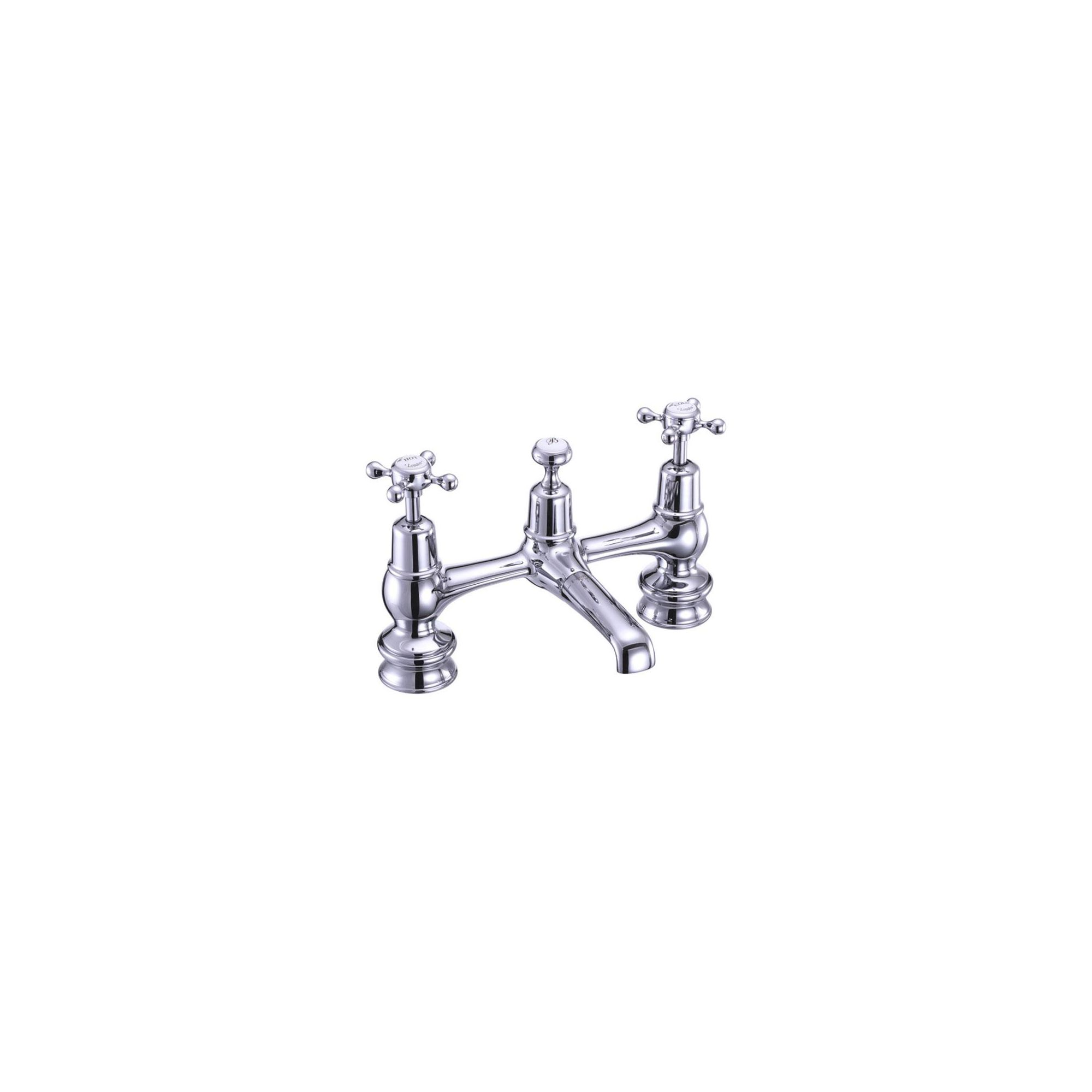 Burlington Claremont Regent 2 Hole Bridge Basin Mixer Tap, Dual Handle, Chrome at Tesco Direct