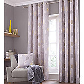 Catherine Lansfield Home Cotton Rich Skandi Leaves Grey Curtains 90x90