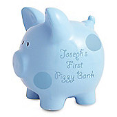 Personalised Blue Polka Dot Piggy Bank