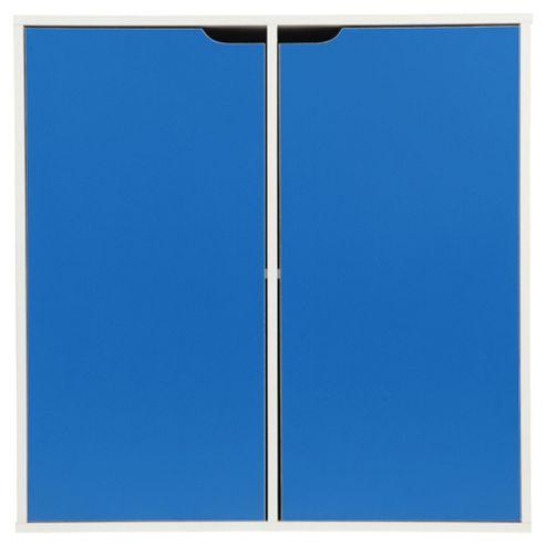 Jasper Storage Cube W/ Doors White/Blue
