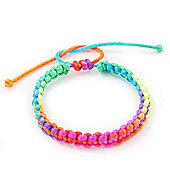 Plaited Neon Multicoloured Silk Cord With Silver Tone Bead Friendship Bracelet - Adjustable