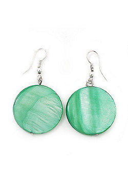 Light Green Shell 'Coin' Drop Earrings In Silver Finish - 4cm Length