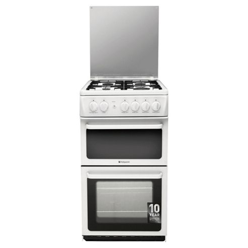 Hotpoint HAGL51P, Freestanding, Gas Cooker, 50cm, White, Twin Cavity, Single Oven