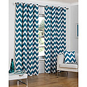 Hamilton McBride Chevron Lined Ring Top Curtains - Teal