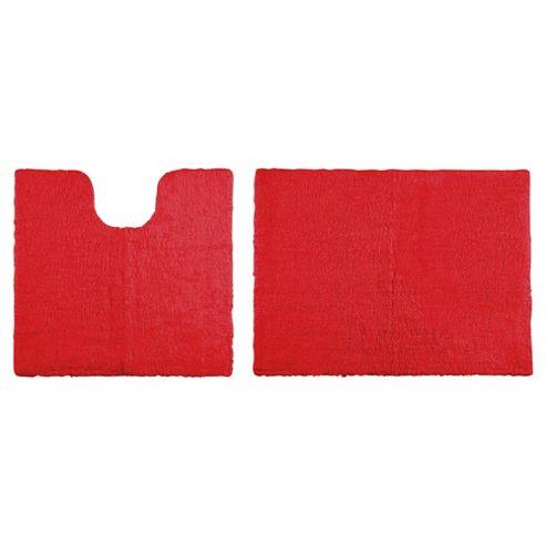 Tesco Reversible Pedestal And Bath Mat Set Red