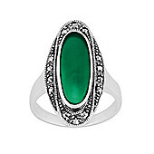 Gemondo 925 Sterling Silver 1.60ct Green Chalcedony & Marcasite Art Deco Ring